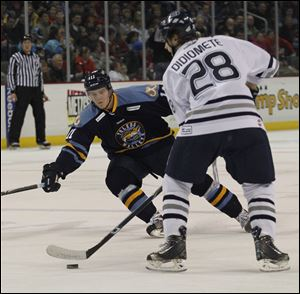 Walleye forward Andrej Nestrasil has split time between Toledo and Grand Rapids in his first pro season.