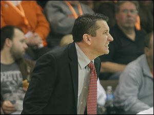 BGSU head coach Curt Miller watches the action from the sidelines.