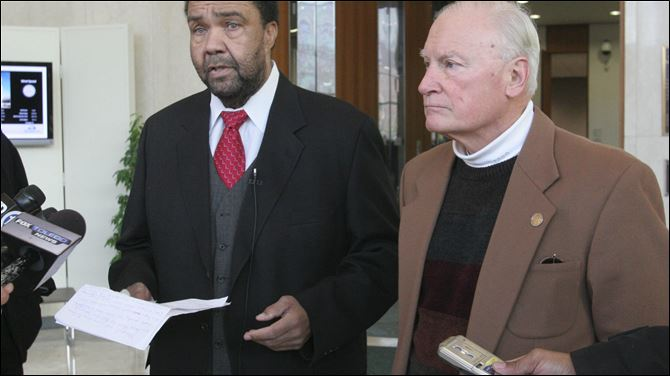 Former Toledo mayors Jack Ford and Carty Finkbeiner hold a news conference at One Government Center to express their opinions about the scandal that is enveloping the city's neighborhoods department.