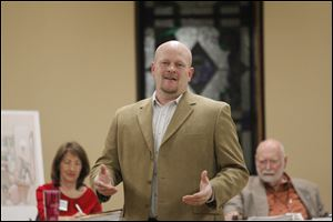 Samuel Joseph Wurzelbacher, better known as 'Joe the Plumber,' speaks at the Fallen Timbers Republican Club meeting Thursday night.