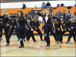The Southview dance team performs for the crowd during half-time.