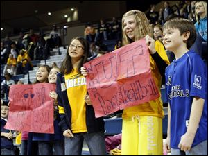University of Toledo fans cheer on the Lady Rockets at Savage Arena.