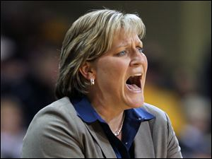 Toledo coach Tricia Cullop shouts instructions to her players as the game against Ball State heats up.