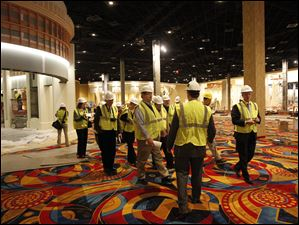 Members of the media tour the Hollywood Casino.