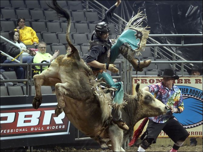 Jimmy Anderson, of Bayfield, colorado, rides Stormin Normin Jimmy Anderson, of Bayfield, colorado, rides Stormin Normin. The 2012 Toledo Professional Bull Riders Invitational in Toledo, Ohio on Friday. Riders compete for qualifying points for the 2012 finals.