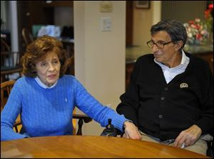 Susan Paterno, left, sits with her husband, former Penn State football coach Joe Paterno as he is interviewed Jan. 12, 2012, at his home in State College, Pa. In his first public comments since being fired two months ago, Paterno told The Washington Post he