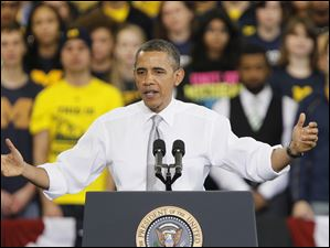Obama speaks in Ann Arbor.
