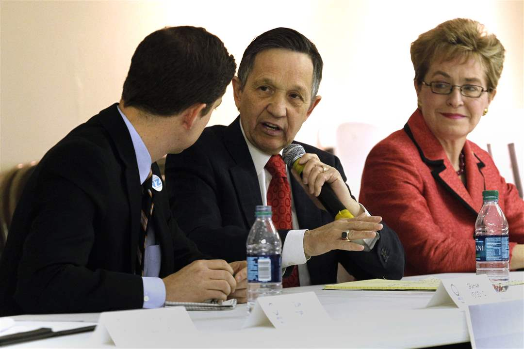 9th-Congressional-District-candidates-Graham-Veysey-Dennis-Kucinich-and-Marcy-Kaptur-debate