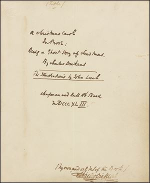 The text reads: A Christmas Carol in Prose. Being a Ghost Story of Christmas Autograph manuscript signed, December 1843.
