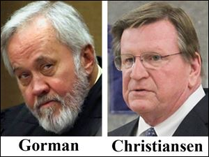 From right, Judge Robert Christiansen, and judge Francis Gorman.