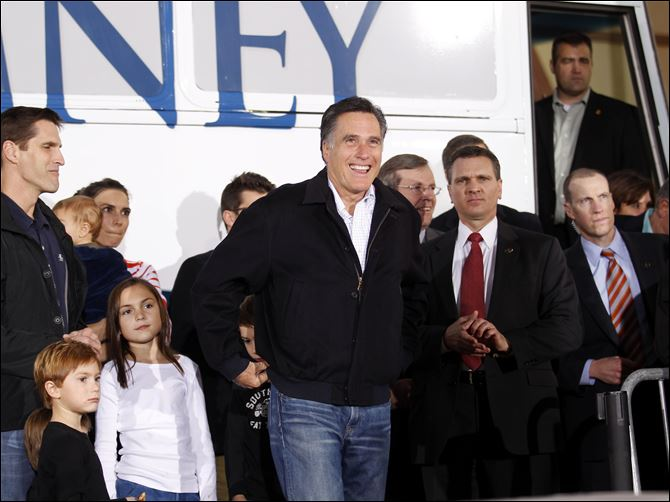 Romney 2012 campaign in Nevada Republican presidential candidate, former Massachusetts Gov. Mitt Romney, arrives at a campaign rally in Henderson, Nev., Friday.