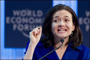 Sheryl Sandberg, chief operating officer of Facebook, speaks during a plenary session at the 42nd Annual Meeting of the World Economic Forum in Davos, Switzerland.