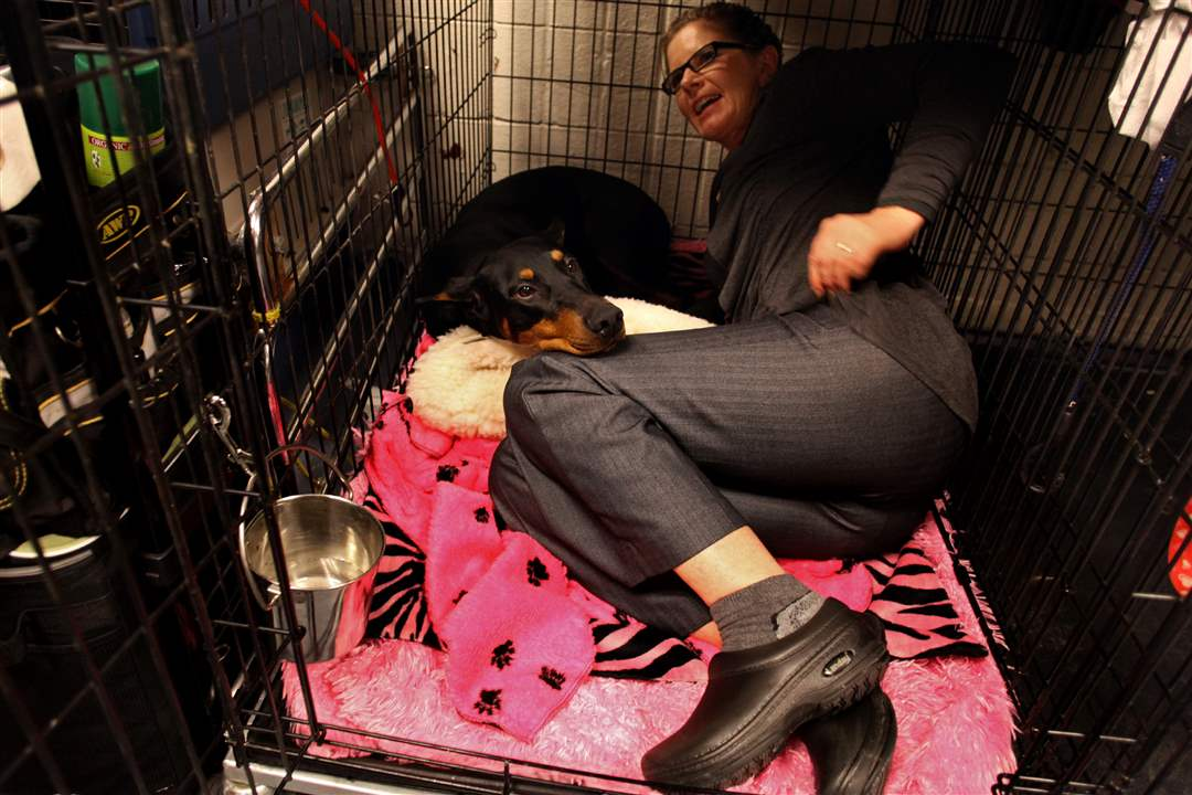 Fifi-a-doberman-pinscher-is-joined-in-her-cage-by-co-owner-Suzy-Lundy-of-Oregonia-Ohio