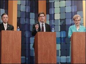 Democratic candidates Rep. Dennis Kucinich (D., Cleveland),Cleveland businessman Graham Veysey,  and U.S. Rep. Marcy Kaptur (D., Toledo) during the Ohio's newly drawn 9th Congressional District Toledo-area debate Monday night.