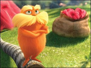 Lorax, voiced by Danny Devito, is shown in a scene from 'Dr. Seuss' The Lorax.'