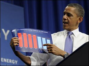 President Barack Obama holds up a chart as he speaks about his blueprint for an economy built to last with a focus on American energy, at Nashua Community College, in Nashua, N.H.