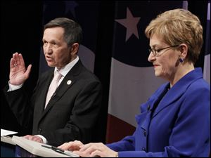 Dennis Kucinich, left, shown during a recent debate among candidates for Ohio's 9th Congressional District, said Marcy Kaptur, right, should not lead the House Appropriations Committee even though she is the next ranking Democrat in line.