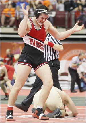 Wauseon's Zane Krall reacts after winning his 220-pound match against Ray Stone of Akron St. Vincent-St. Mary.
