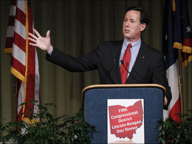 Former Pennsylvania Senator Rick Santorum Former Pennsylvania Senator Rick Santorum told the 750 attendees that he would cut $5 trillion from the federal budget and work for a balanced budget amendment. But he also promised not to cut the defense budget, drawing a standing ovation.