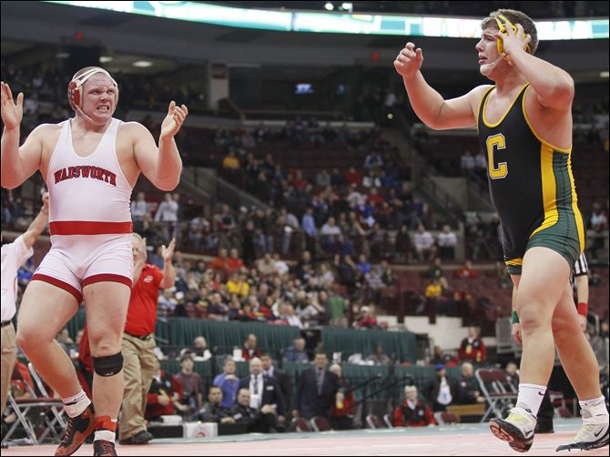 Garrett Gray of Oregon Clay loses to Nick Tavanello of Wadsworth Garrett Gray of Oregon Clay loses to Nick Tavanello of Wadsworth in the Division I 285 pound championship match in multiple overtimes during the State Wrestling Tournament Saturday, in Columbus, Ohio.