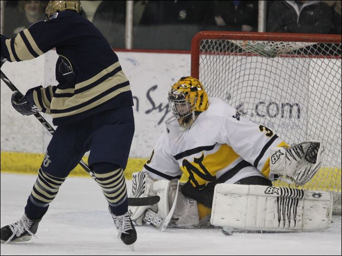 Northview goalie Austin Gryca makes a save Northview goalie Austin Gryca makes a save on a shot by St. John's player Caleb Hausenstein during the second period.
