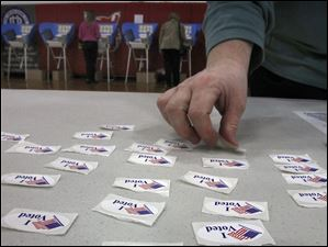 Voters were offered stickers at polling locations, like this one at Bowling Green Senior High School in Bowling Green.