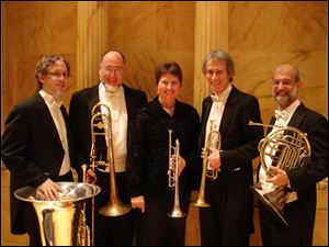 The Toledo Symphony Brass Quintet -- from left, David Saltzman, Dan Harris, Lauraine Carpenter, Mel Harsh, and Alan Taplin -- will perform Sunday at the last concert of the season in the Blade Chamber Series.