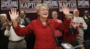 U.S. Rep. Marcy Kaptur (D., Toledo) celebrates with supporters at the Laborers Local 500 Hall in Toledo.