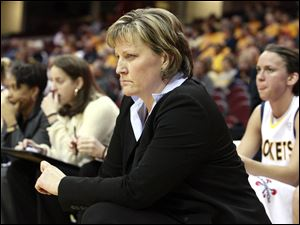 University of Toledo Rocket's coach Tricia Cullop concentrates in the last moments of the game against Northern Illinois during the MAC tournament.
