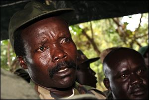 In this Nov. 12, 2006 file photo, the leader of the Lord's Resistance Army, Joseph Kony answers journalists' questions following a meeting with UN humanitarian chief Jan Egeland at Ri-Kwamba in southern Sudan.