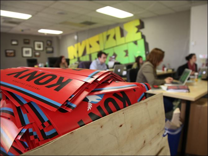 Africa Viral Video Kony Invisible Children offices A box full to the brim with KONY 2012 campaign posters sit at the Invisible Children Movement offices in San Diego. The workers are monitoring the social media impact of their KONY 2012 campaign.