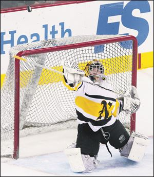 Northview goalie Austin Gryca blocks a shot during the state final in Columbus. He finished with 24 saves.