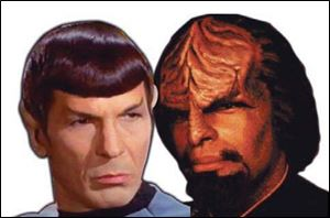 On 'Star Trek,' Spock, left, is half human and half Vulcan; Worf is a Klingon. Both alien life forms look human.
