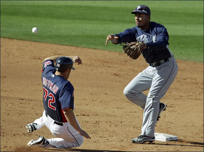 Padres top Tribe San Diego Padres second baseman Jonathan Galvez, right, throws over Cleveland Indians' Chad Huffman to complete a double play on Indians' Jose Lopez in the sixth inning of a spring training baseball game on Saturday.