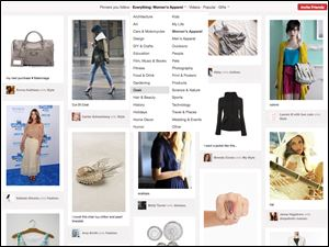 This screen shot shows a page of women's products from Pinterest. The site's popularity has exploded in recent weeks.
