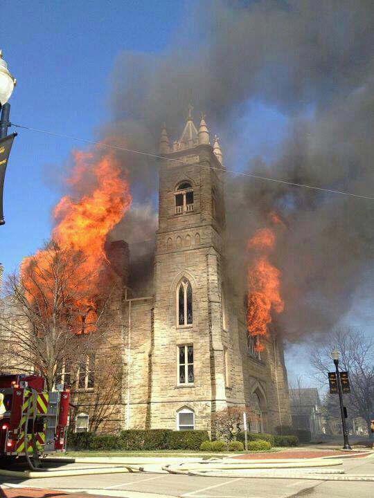 huge fire devours historic church in downtown ada