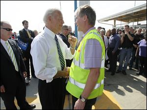 Biden appears at the Chrysler Toledo Machining Plant, in Perrysburg.