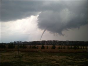 A funnel cloud seen near Lambertville, Mich.