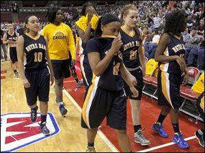 Notre Dame walks off the court after being defeated by Fairmont.