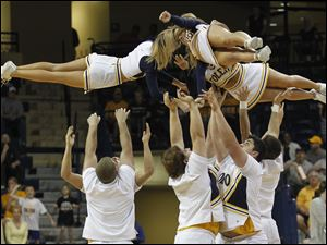 UT cheerleaders during a timeout.