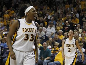 UT's Yolanda Richardson reacts to scoring two points.