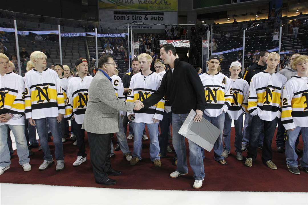 Blade-sports-editor-Frank-Corsoe-shakes-hands-with-Northview-hockey-head-coach-Mike-Jones-1