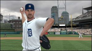 An animated Detroit Tigers ace Justin Verlander is shown in Major League Baseball 2K12.