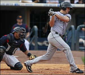 Lonnie Chisenhall of Columbus gets a hit against Toledo last season. Chisenhall helped the Clippers, the Triple-A team of the Cleveland Indians, win the International League title last season.