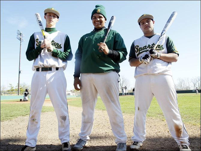 Start baseball Start was runner-up last year in the City League playoffs and returns, from left, Austin Suiter, Austin Baker, and Marty Ramirez. The Spartans are the preseason pick to win the CL title.
