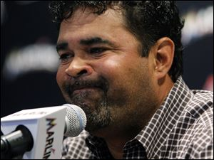 Miami Marlins manager Ozzie Guillen speaks at a news conference Tuesday at Marlins Stadium in Miami.