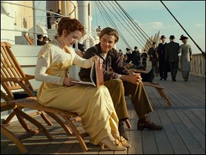 "From the movie ""Titanic"", Leonardo DiCaprio and Kate Winslet are shown in a scene from the 3-D version of James Cameron's epic film."