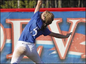 Springfield's Libby Mathewson tries to catch a fly ball in the outfield.