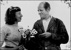 Artists Lee Krasner and Jackson Pollock are shown in their garden at their East Hampton, N.Y., home, circa 1949.