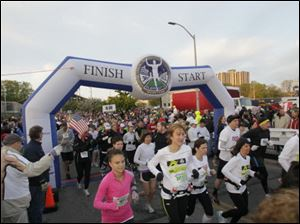 The marathon's course runs through West Toledo and Sylvania and ends in the Glass Bowl at the University of Toledo.